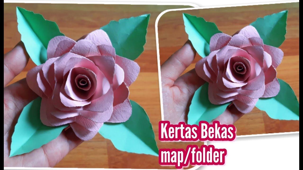 Cara Membuat Bunga Dari Kertas Bekas Diy Craft Waste Paper Flowers Simple Easy Youtube