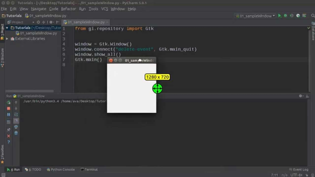 Python GUI Development with GTK+ 3 - Tutorial 1 - Simple Window