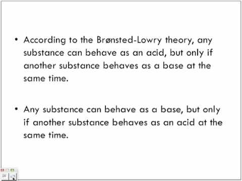 Bronsted Lowry Theory of Acids and Bases