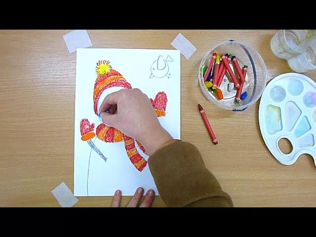 1 клас. Мистецтво. Малюємо сніговика восковими олівцями та аквареллю