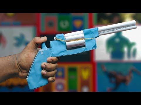 Paper Revolver / Shotgun  Automatic Paper Revolver That Shoots 6 Bullets With Trigger paper pistol