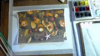 Как нарисовать новогодний натюрморт(В этом видео я расскажу , как нарисовать натюрморт на новогоднюю тему, акварельными красками. Онлайн школа..., 2015-12-13T19:51:34.000Z)