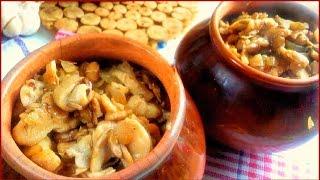 Горшочки в духовке с картофелем и грибами. Картошка в горшочке со сметаной и вешенками рецепт