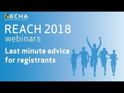REACH 2018 webinar: last minute advice for registrants