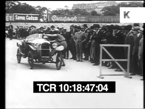1920s Woman Driver Moves Barriers and Speeds On, Archive Footage