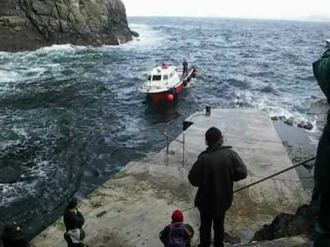 Lively seas for boats at Skellig Michael landing quay, Ireland