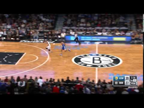 Markel Brown Brooklyn Nets Steal and Layup vs Warriors on 12/6/15