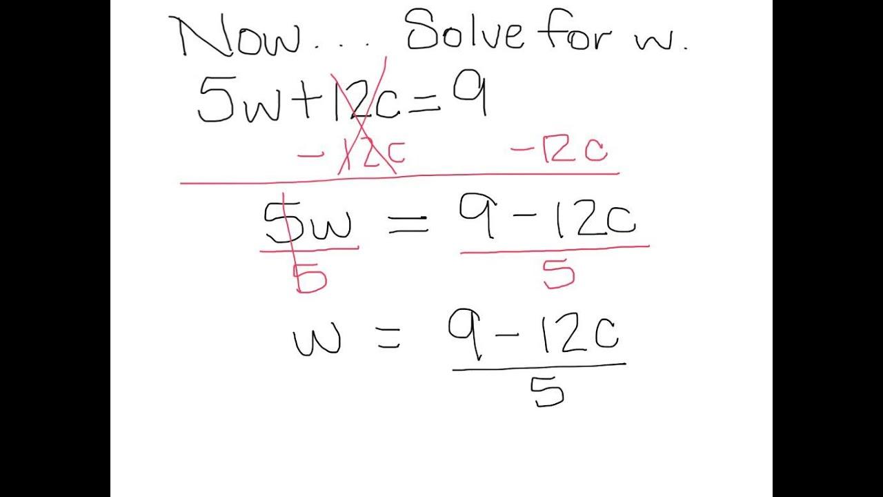 Literal Equations Worksheet For 8th Graders - solving ...