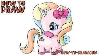 unicorn easy drawing draw step tutorial clipart drawings cartoon fun animal pencil