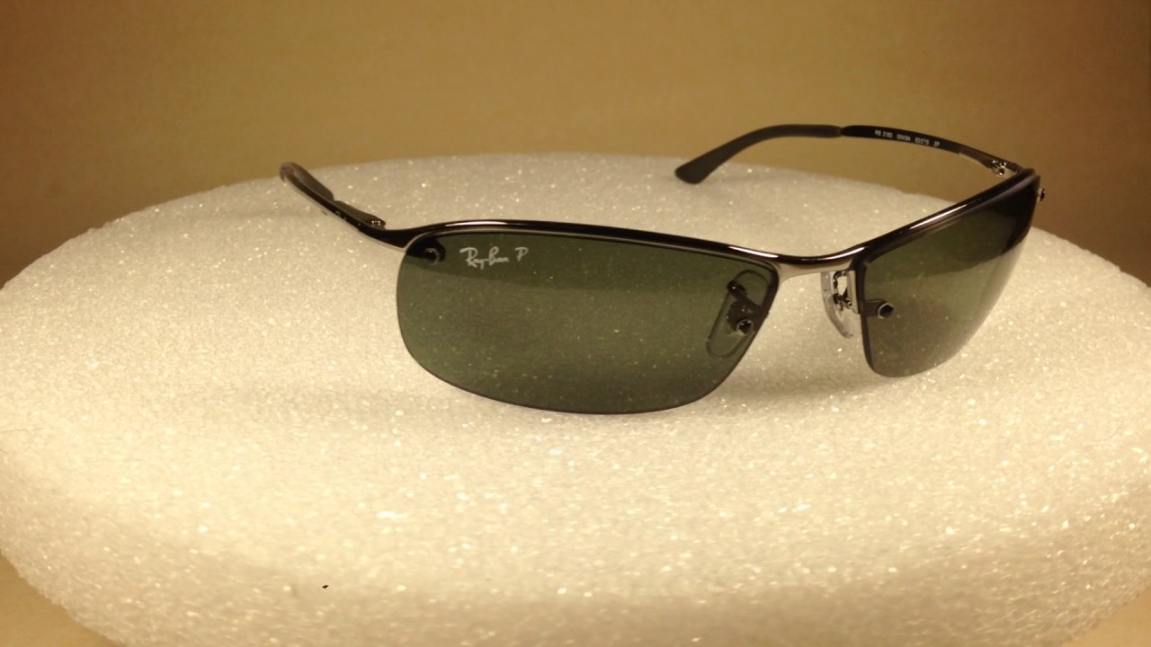52e84c6a5d Ray-Ban Tech Polarized Rimless Sunglasses New Authentic RB3183 Silver  Gunmetal
