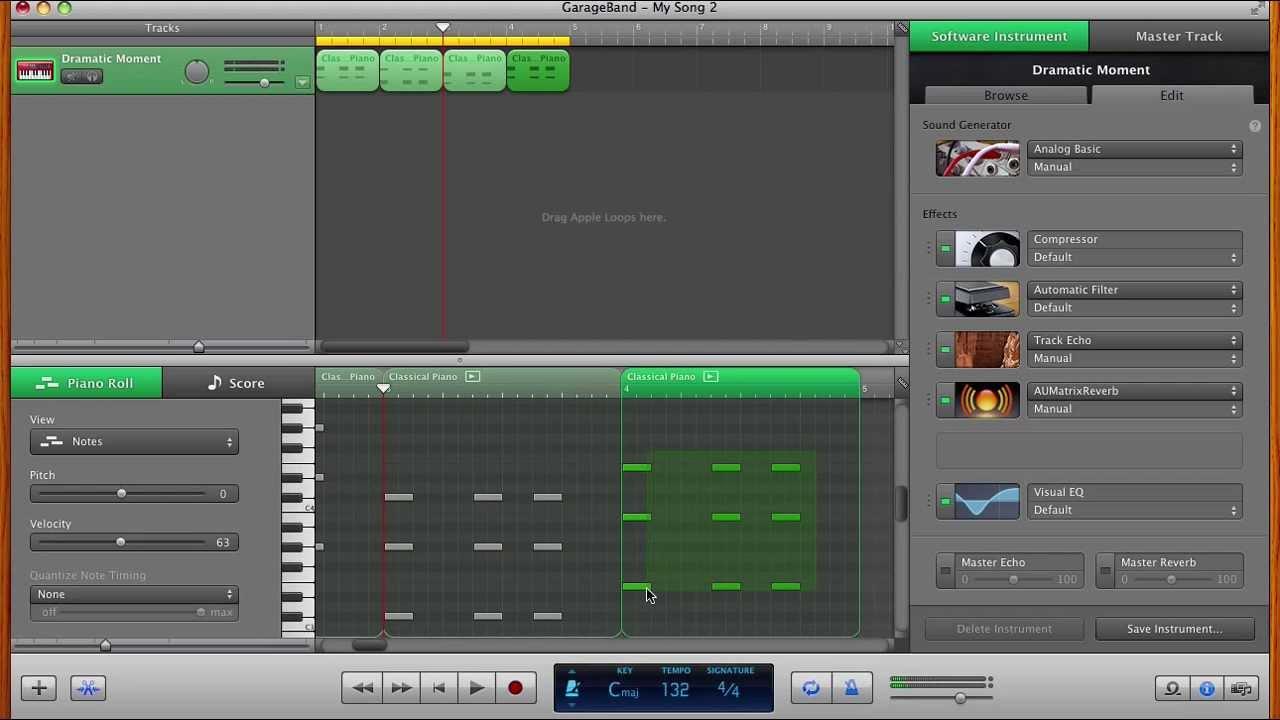 Piano Garage Band : Making electronic music using piano roll in garageband youtube