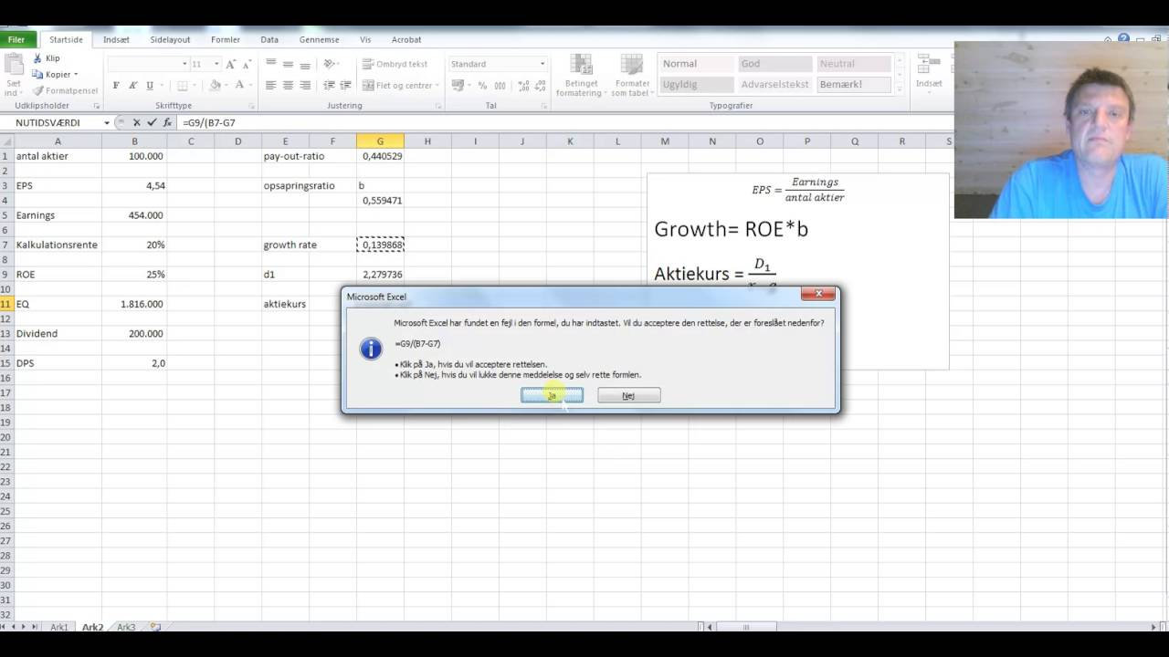 Growth, EPS, dividende og kursværdi Excel demo