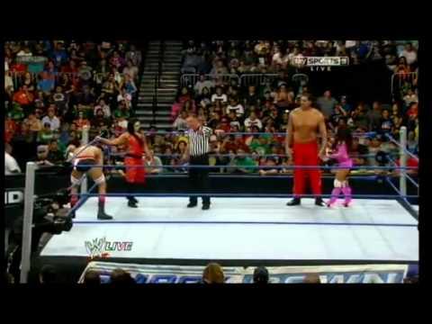 The Great Khali & Layla vs Antonio Cesaro & Aksana - SmackDown 3/7/2012