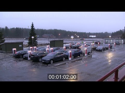 Busy 20 stall Tesla supercharger timelapse