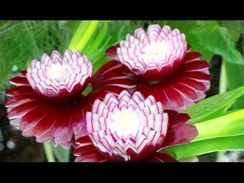 How To Make Red Onion Flowers - Vegetable Carving Garnish - Sushi Garnish - Food Decoration