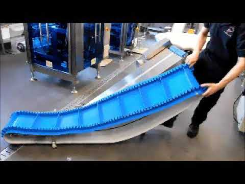 OFF-TAKE / INCLINE CONVEYOR WITH QUICK RELEASE REMOVABLE BELT.