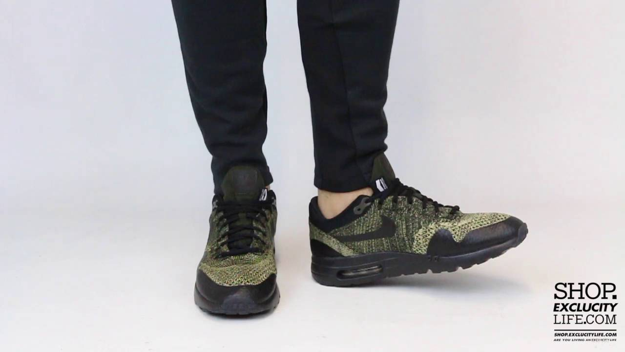 ccf67377eb1 Air Max 1 Ultra Flyknit Black Beige On feet Video at Exclucity - YouTube