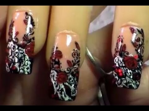 black lace nail art / gothic filigree / red roses nail art tutorial - Black Lace Nail Art / Gothic Filigree / Red Roses Nail Art