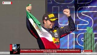 Verstappen y Checo Pérez suben al podio y arrodillan a Hamilton en el Gran Premio de Estados Unidos