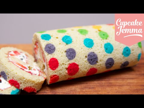 Get How to make a Rainbow Polka Dot Swiss Roll | Cupcake Jemma Images
