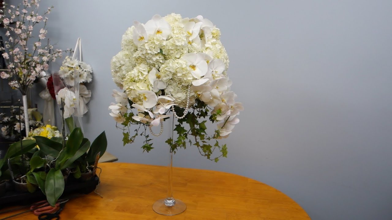 How to make a tall arrangement in martini vase with orchids and how to make a tall arrangement in martini vase with orchids and hydrangeas youtube reviewsmspy