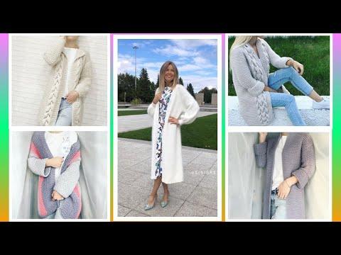 Вязаные кардиганы крючком 2017 года модные тенденции фото