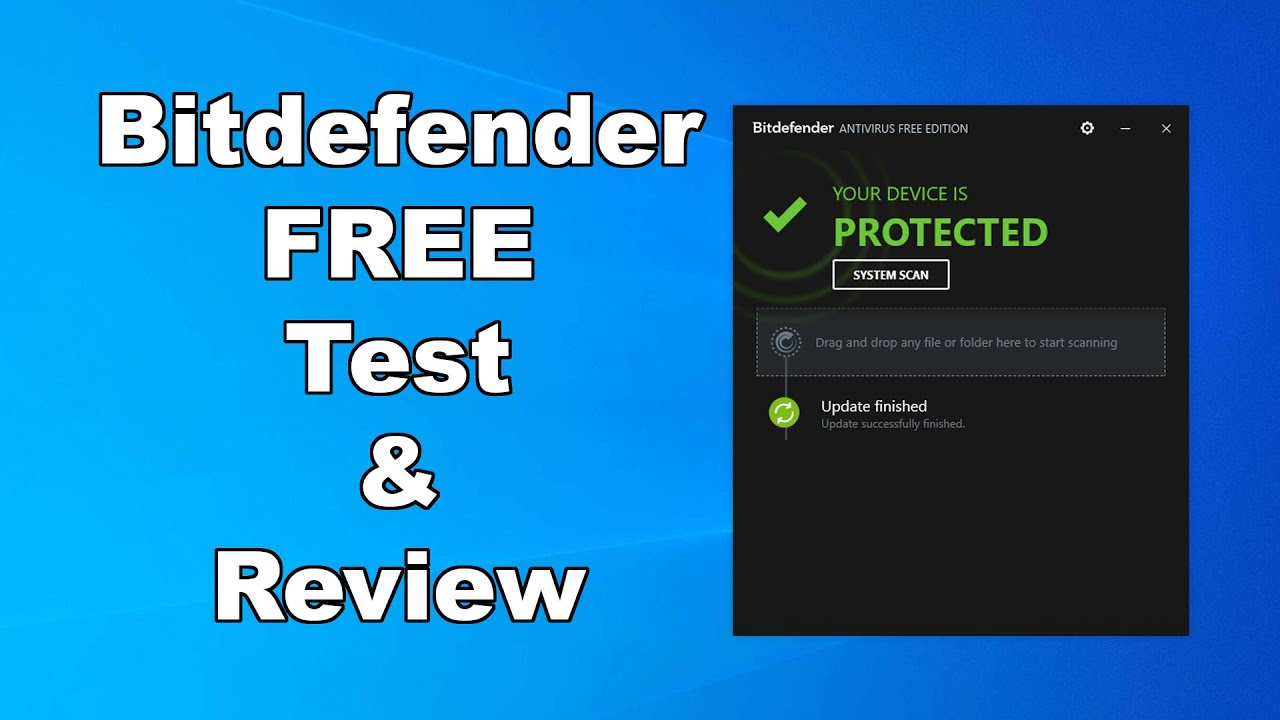 Bitdefender Free Antivirus Test Review 2020 Antivirus Security Review High Level Test Youtube
