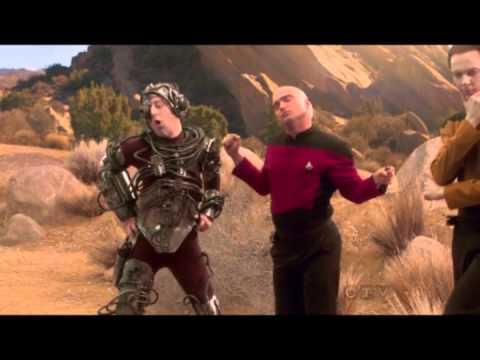The lads from The Big Bang Theory reenact Star Trek poses in full Star trek Uniform