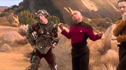 The lads from The Big Bang Theory reenact Star Trek poses in full Star trek Uniform