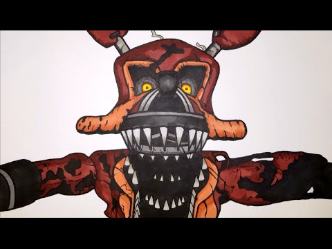 How To Draw Nightmare Foxy From Fnaf 4 Step By Ste Youtube