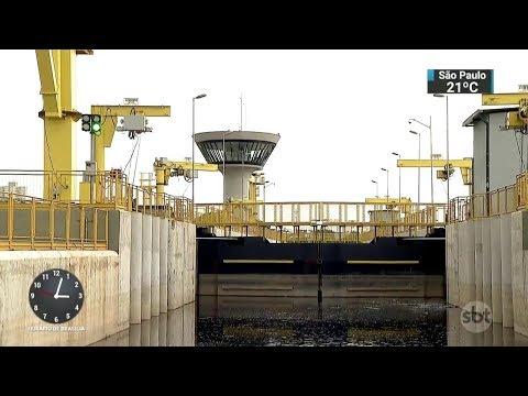 Segunda eclusa do Tietê já está em fase de testes na Grande SP   SBT Notícias (21/02/18)