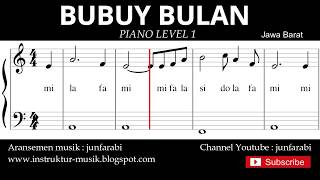 not balok bubuy bulan - piano level 1 - lagu daerah jawa barat / sunda - doremi / solmisasi