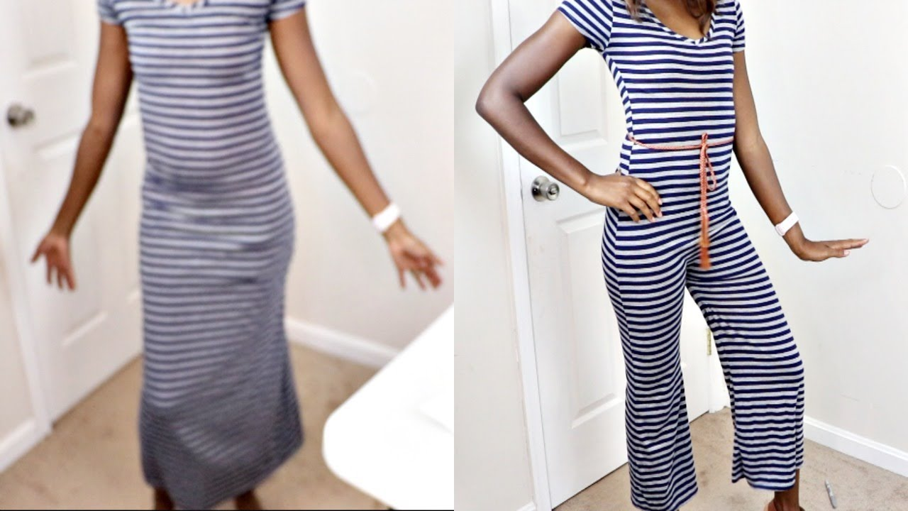 2ff4aa5a57d HOW TO TURN A SUMMER MAXI DRESS TO JUMPSUIT! (Sewing Tutorial) - YouTube