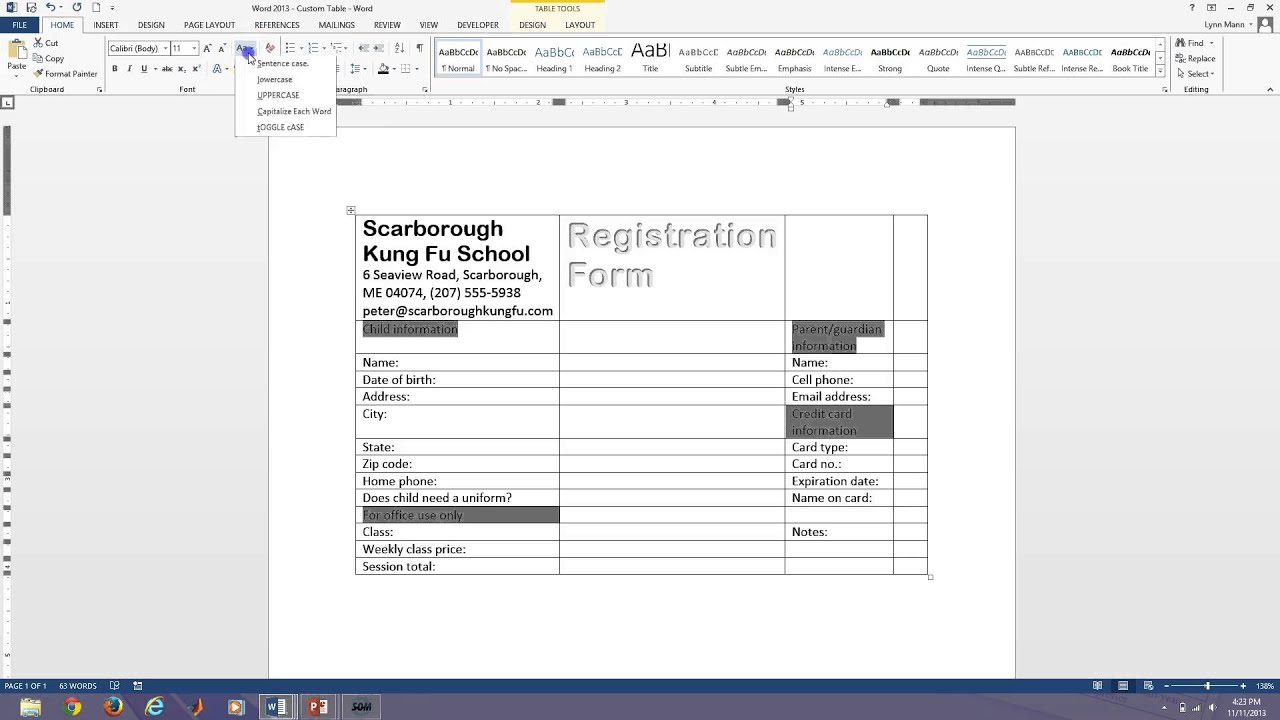 Word 2013 Fillable Forms YouTube – Word Form Template