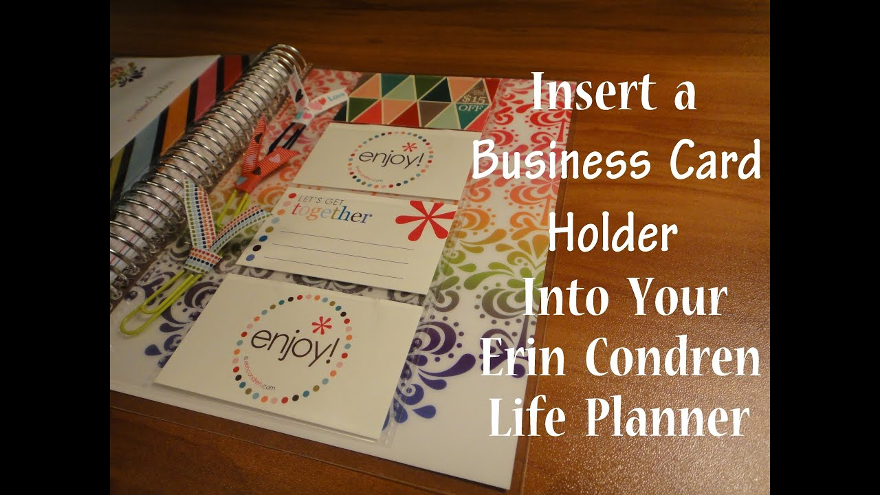 HOW TO: Insert a Business Card Holder Into Your Erin Condren Life ...