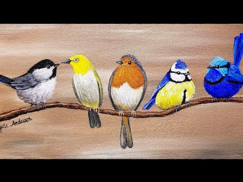 SONGBIRDS Acrylic Painting Tutorial LIVE | How to Paint BIRDS