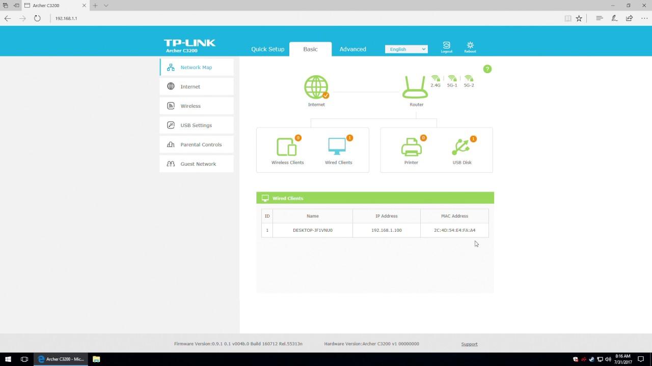 TP-LINK Archer C3200 - Management Interface