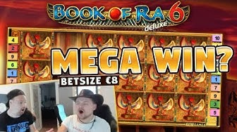 MEGA WIN! Book of Ra 6 BIG WIN - 8 euro bet - Huge win from LIVE stream