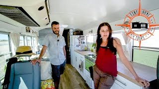 Couple Builds Gorgeous DIY Skoolie Conversion ~ Saved Cash & Hit The Road