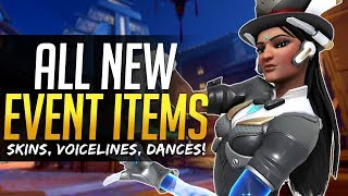 Video Overwatch ALL NEW ITEMS - Skins, Voicelines, Emotes and more! Anniversary Event download MP3, 3GP, MP4, WEBM, AVI, FLV Mei 2018