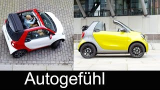All-new Smart fortwo Cabriolet convertible exterior/interior roof mechanism prime red/green