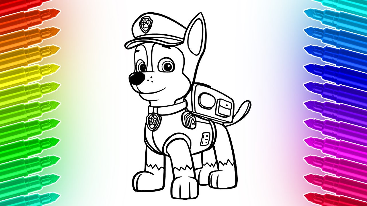 How to draw and color Paw Patrol Chase 🎨 Cool Coloring Pages - YouTube