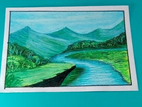 Kids oil pastels landscape painting step by step video