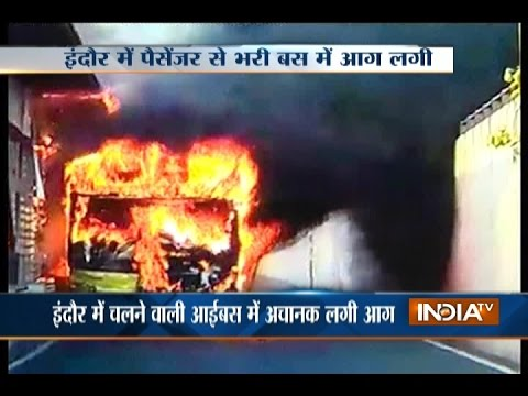 Passenger bus catches fire in Indore