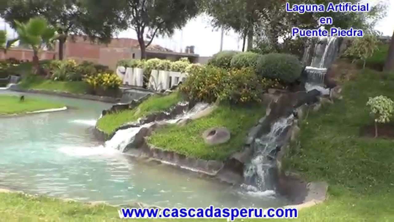 Cascadas estanque y laguna artificial youtube for Estanques artificiales para jardin