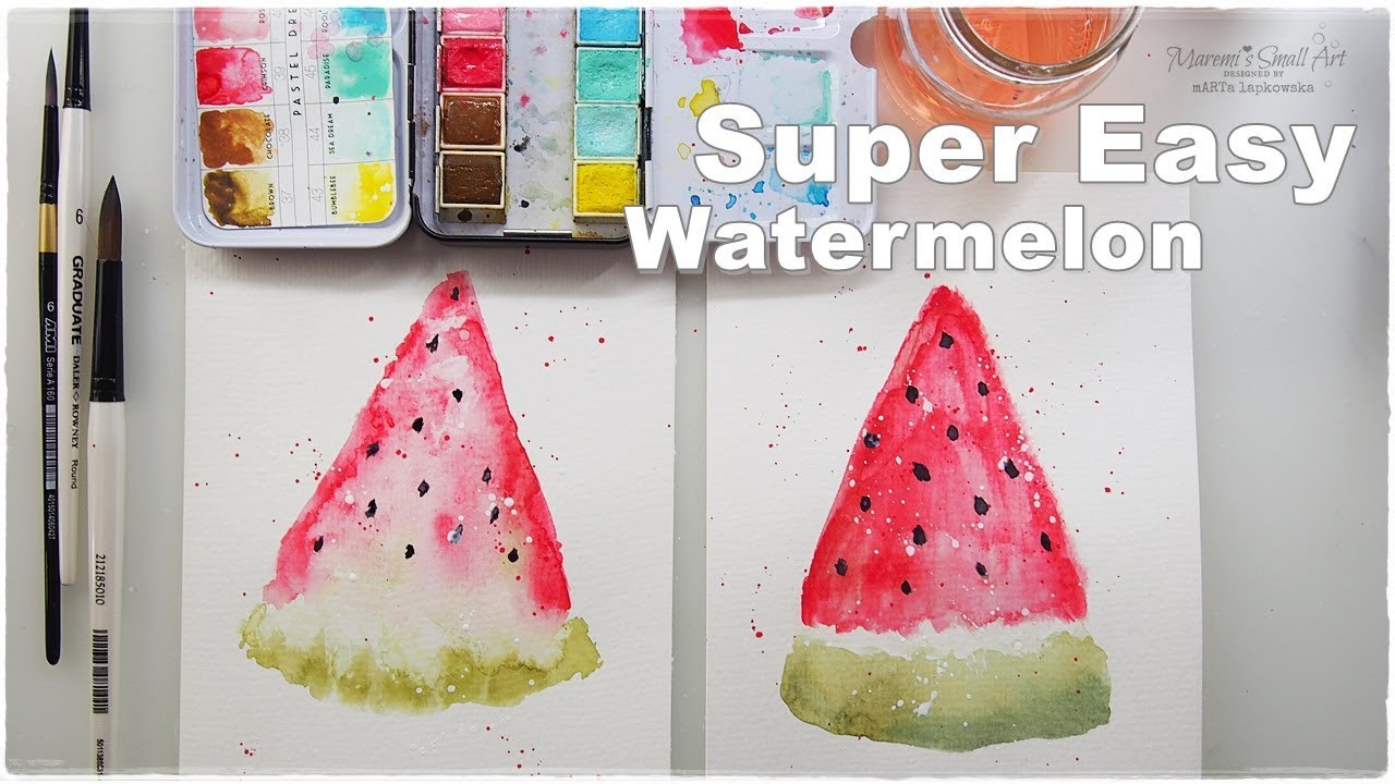 Super Easy Beginners Watercolor Watermelon For Kids Maremi S Small Art Youtube