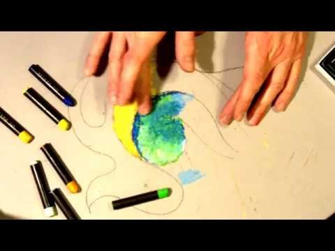 Basic Oil Pastel Techniques: Rule of 3's Example