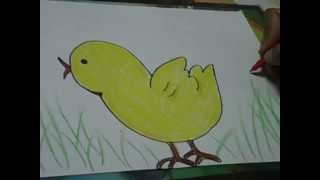 easy drawing for kids,cute chick drawing and coloring in simple steps