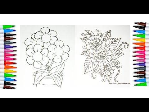 flower coloring pages, relaxing video, satisfying video, coloring pages, how to color, coloring