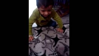 Adhyayan with partial trisomy of 18 chromosome first attempt to get on bed at 22 month